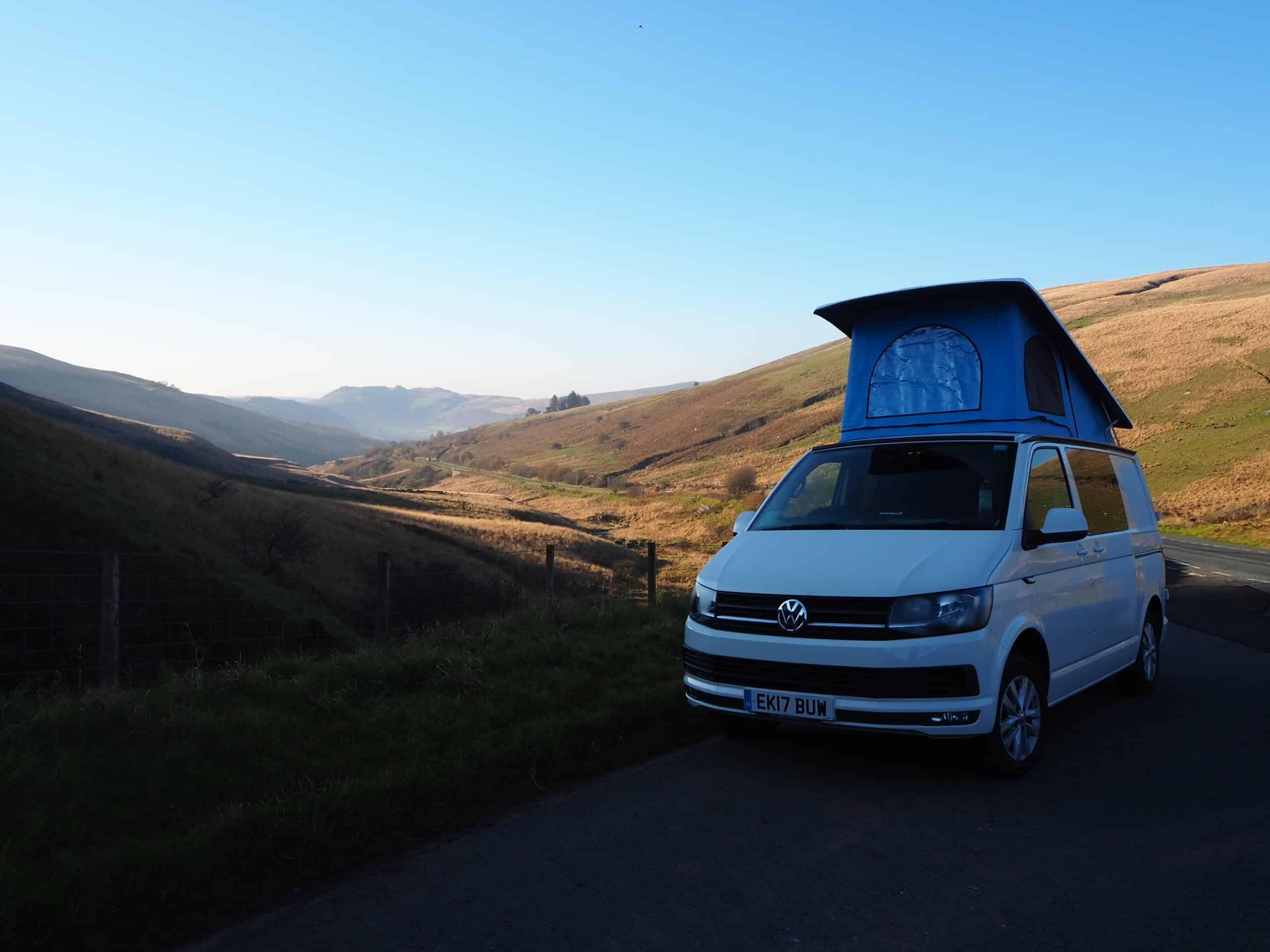 Campervan camped in Brecon Beacons