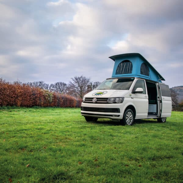Edi the Campervan with the roof open