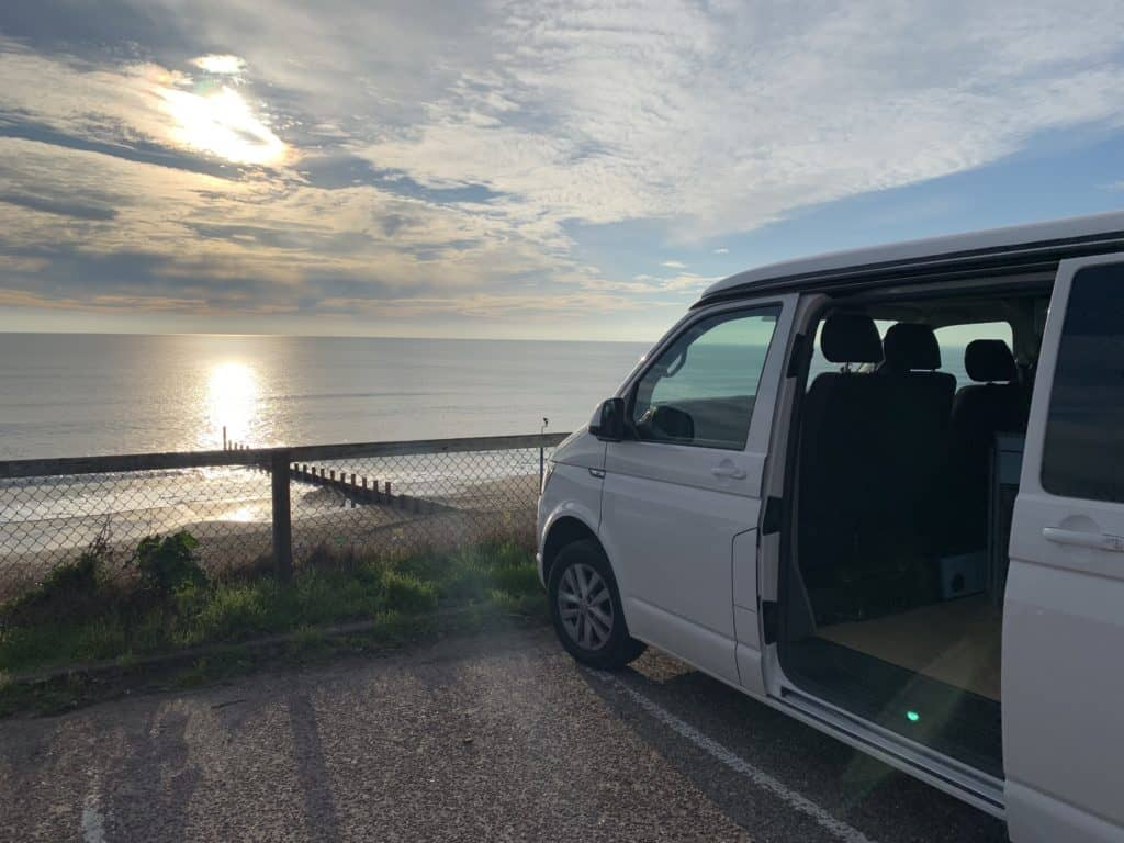 Campervan with beach view