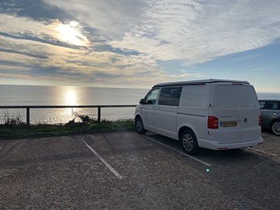 Campervan Edi with a view over Bournemouth beach