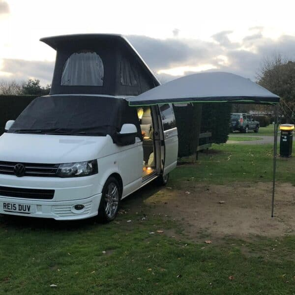 Jossie with awning and door open