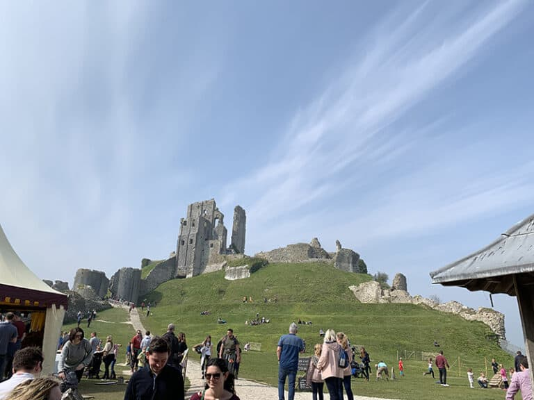 Corfe Castle from inside the grounds