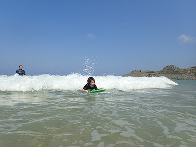 Riding the waves at a beach