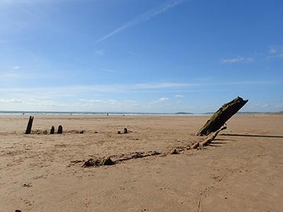 Helvetia shipwreck on Rhossili beach