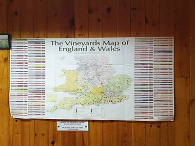 Vineyards of the UK in a map