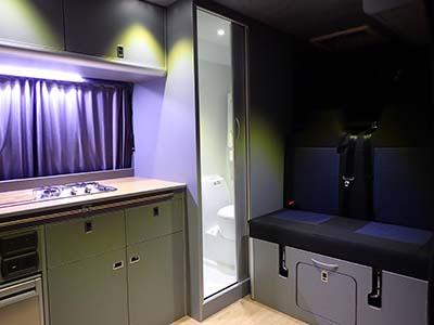 Rear seats from inside Adventure Van