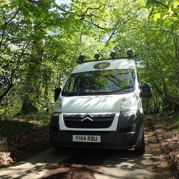 Ben the Campervan out exploring Driving down a leafy lane