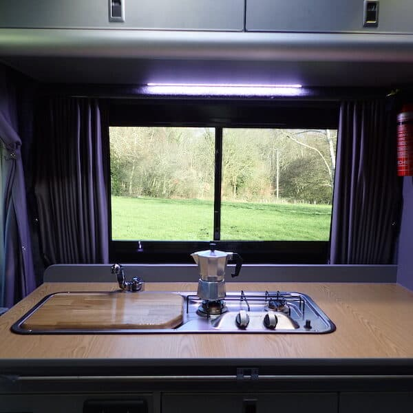 Brewing coffee in the campervan