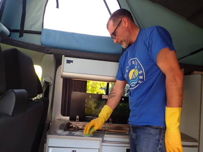 COVID safe, Cleaning the campervan worksurface