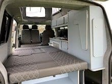 Campervan bed laid out flat