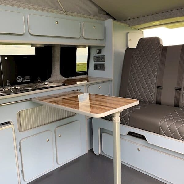 Rear seats of T6 campervan with the table out