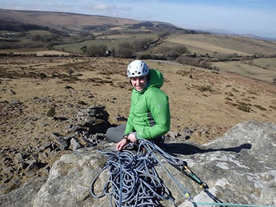 Person belaying in Peak District