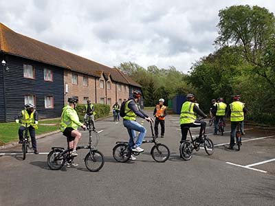 Cyclists being given instructions