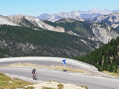 Cyclist riding in the Alps