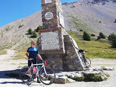 Cyclist riding Tour de France route