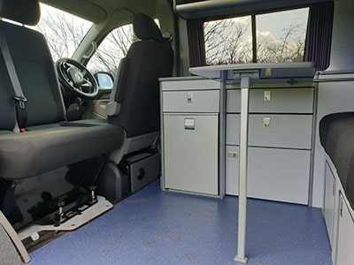Campervan with table up