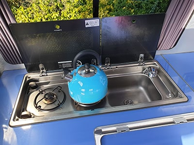 Campervan with the kettle on