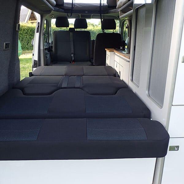 Campervan rear bed down