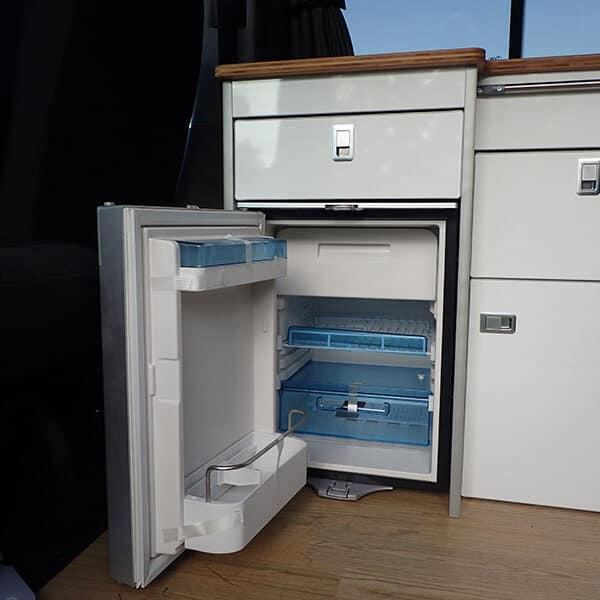 Campervan fridge with door open