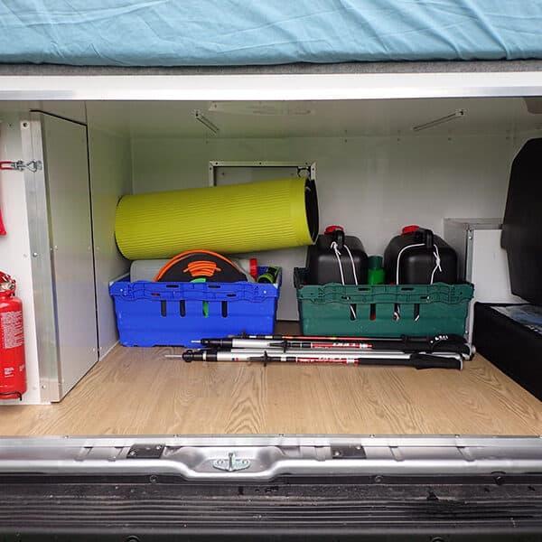 Campervan rear storage area