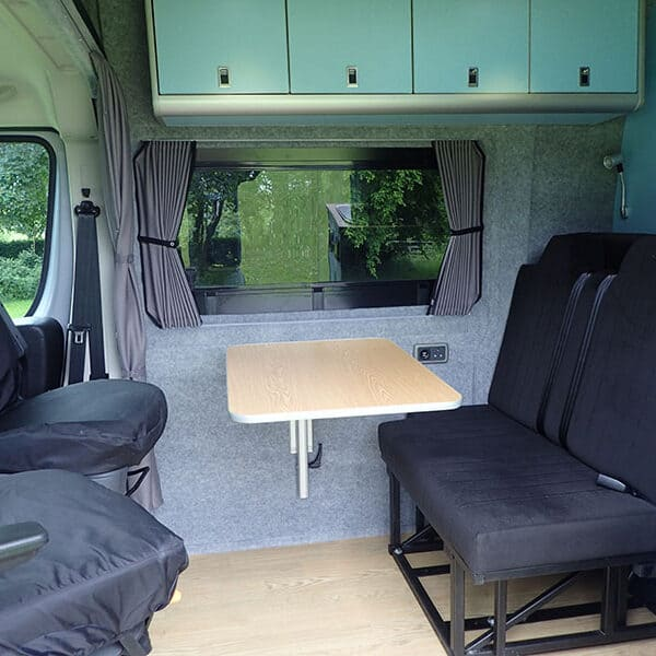 Campervan rear seats and table