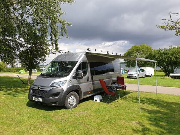 Campervan Dingley with awning side view